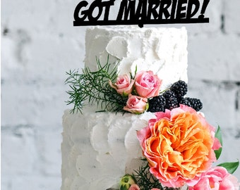Ha Ha!!! Got Married! Elegant Wedding Cake Topper, Acrylic, Real Wood and Luxe Colors Glitter Heart Topper Funny Cake Topper Ornament