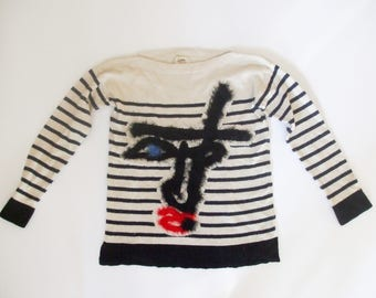 Jean Paul Gaultier Lindex Black and White Striped Sweater with Pattern, sz. S - oversized