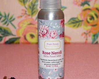 Rose Neroli Skin Food Mist, Anti-Aging Facial Toner, Hydrating Face Mist, Rose Toner, Organic Skincare, Natural Skincare, Vegan Skincare