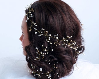 Extra Long Bridal Hair Vine - Wedding hair vine- Bride hair accessories -Ivory Pearl hair vine -Bohemian bridal headpiece -Bridal hair piece