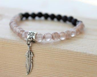 HARMONY bracelet, bracelet made with brown jade and lavarock, diffuser bracelet, bracelet avec jade et roche de lave, bracelet diffuseur