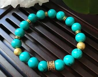10mm Turquoise Yoga Mala Beaded Bracelet. Healing Natural Gemstone bracelet. Boho Bracelet.