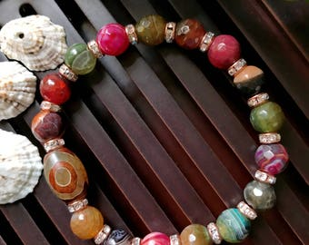 Tibetan Mystical Three Eyes Dzi Agate Yoga Mala Beaded Bracelet. Protection Amulet Mala. Meditation Mala. Wrist Mala.