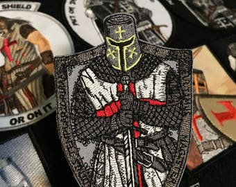 DEUS VULT Morale Patch Sword Templar Cross Shield God Wills It QUALITY embroidery detailed