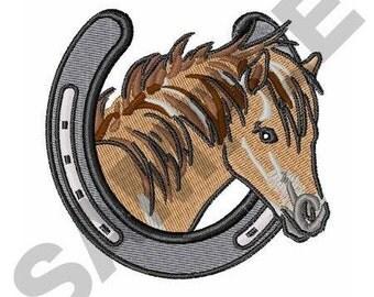 Horse In Horseshoe - Machine Embroidery Design