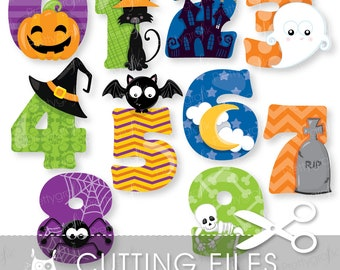 Halloween numbers cutting files, svg, dxf, pdf, eps included - cutting files for cricut and cameo - Cutting Files SVG - CT909