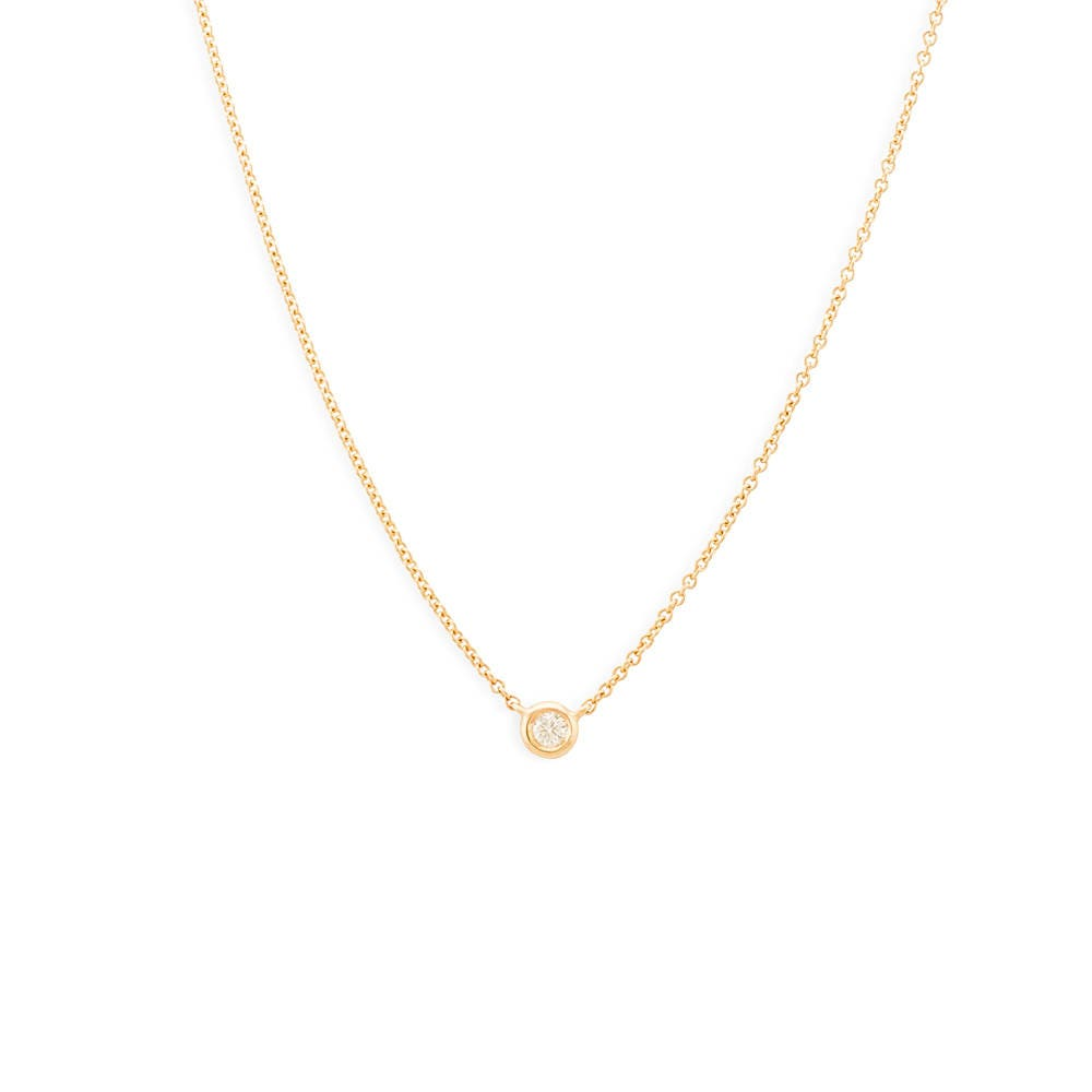 Diamond Solitaire Necklace/14k Gold 0.07 Ct. Dainty Diamond Bezel Setting Necklace/ Delicate Diamond Necklace/ Layering Diamond Necklace