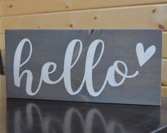 Hello Wood Sign Hand Painted Wood Sign Entry Hello Sign Home Decor Heart Sign Housewarming Gift