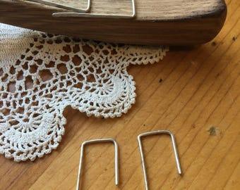 Silver Staple Earrings
