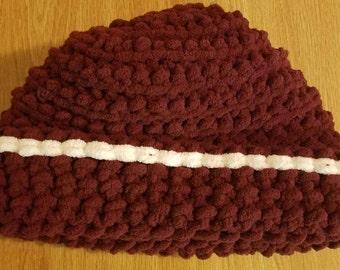 Crochet Super Soft Bulky Beanie Hat With White Trim L-XL