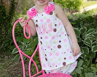Polka Dot Monogrammed A-line Dress and Bloomers, Custom Boutique,  Pink Polka Dot A-line Dress and Bloomers, Made in the USA, LDM, MK