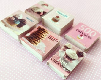 Dollhouse Miniature Recipe Books, set of 6, 1:12 Scale Sweet Recipe Books, Miniature Food