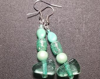 Seafoam Green Crystal Beaded Dangle Earrings in Silver