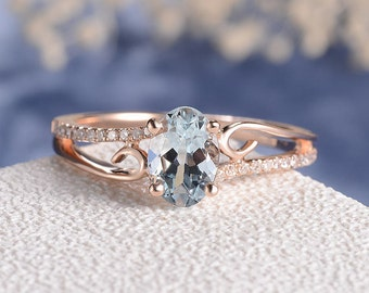 Aquamarine Engagement Ring Rose Gold Women Antique Unique Curved Wedding Bridal Set Birthstone Butterfly Diamond Anniversary Gift For Her
