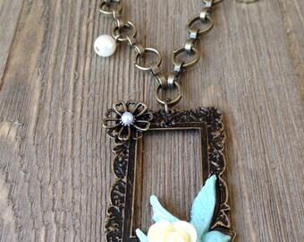 Vintage Rose Bird Framed Necklace