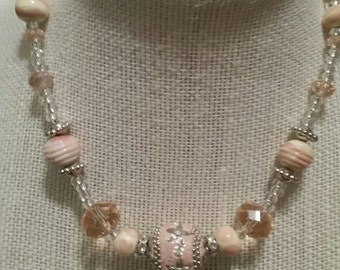 Custom Deluxe Beaded Necklace Pink on Silver