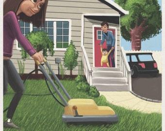 Lawnmower Family Life in Suburbs digital art print