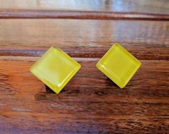 Yellow Stud Earrings, Yellow Earrings, Glass yellow Stud Earrings, Minimal Earrings, Geometric earrings, Yellow studs, Large Yellow Posts