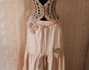 Long skirt .Summer skirt.Long summer skirt made of cotton.