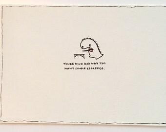 Hand Drawn Card With Espresso Image (blank)