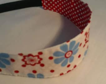 children's headband/ reversible/ cotton/girl birthday/girls gifts/flower headband/red and blue headband