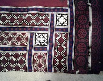 Ajruk Fabric Textile  from Sindh, Pakistan. Maroon, cream, Indigo, black, traditional tribal designs