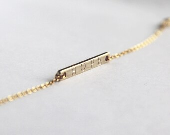 Custom stamped 16K gold plated bar bracelet, mother sister daughter/bridesmaid gift,dainty/minimalist bracelet, personalized.