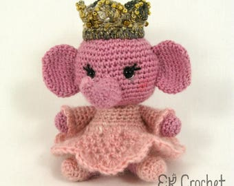 Small Amigurumi Elephant Princess or Queen in Pink Dress with Jeweled Crown