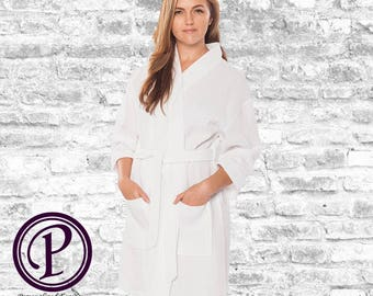 White Waffle Kimono Bridesmaid Robe, Monogrammed Robe, Embroidered Robe, Wedding Day Robe, Bridesmaid Gifts, Bridal Robes, Spa Robes