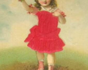 Vintage Embossed Silk Postcard (Little Girl)
