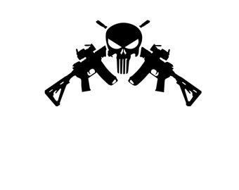 Guns crossed decal etsy punisher crossed guns vinyl decal publicscrutiny Gallery