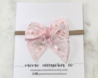 RIBBON BOWS/ EMMA Beaded Grosgrain Ribbon Bow/Baby Pink