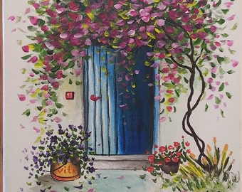 Blue door painting, hand painted landscape, floral painting, acrylic painting canvas art, pink flowers original painting, wall decor canvas