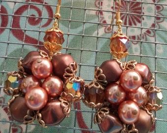 Upcycled Vintage Faux Brown Pearl Cluster Drop Earrings