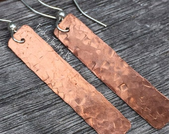 Hammered Copper Dangle Earrings/Copper Drop Earring/Gift for Her/Sterling Silver Earring/Copper Earrings/Hammered Earring
