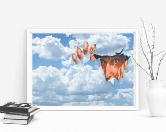Blue Sky Print - Blue Sky Art - Blue Sky Poster - No More Cloudy Days Print - Cloudy Days Poster - Cloudy Day Print