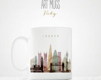 Unique Coffee Mug, London skyline mug, Travel gift, travel lovers, City mug, Coffee Cup, Ceramic mug, Coffee Lovers, ArtMugsVicky