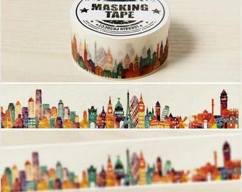 Beautiful City Washi Tape ~ City Buildings Washi Tape, Masking Tape, Scrapbooking Tape, Rice Paper, Washi Stickers, Decorative Washi Tape
