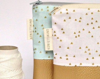 Make-up bag, zip pouch, toilet bag, gold, white, blue, pink, girly, faux leather, triangles, geometric