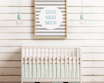 Goodnight Moon Nursery Decor Printable Wall Art, Home Decor, Kids Bedroom, Nursery, Download, Print, Frame.