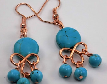 Turquoise and copper, dangle, chandelier,