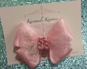 """5"""" Tutu Cute, Pink Ballerina Hair bow"""