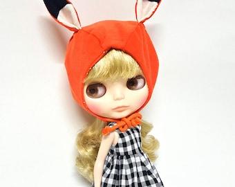 BONNET HAT Fox for Blythe, Orange Hoodie Helmet Doll Outfit Clothes