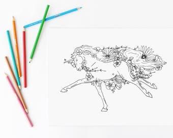 Unicorn Coloring Page / Unicorn Birthday Activity / Unicorn Party Favor / Floral Coloring Page / Unicorn Birthday Party / Unicorn Printable