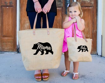 Baby Bear Tote bag, Momma Bear Burlap Tote, Beach Mother's Day Mama Bear Tote Bag, Baby Bear Diaper Bag, Mama Bear Diaper Bag, New Mom Gift