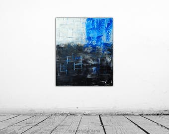 "Geometric Art - Original Abstract Painting on Canvas - 60x50cm (24""x20"") - Modern Handmade Black Blue Acrylic Art - Contemporary Home Decor"