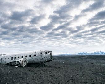 Iceland Plane Wreck Print 3 - Aviation Crash Print- Sólheimasandur's Black Sand Beach Photograph - Iceland Ring Road - Adventure Photography