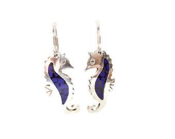 Great seahorse in Sterling 925 Silver earrings
