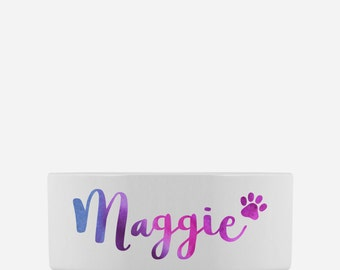 Custom Dog Bowl | Personalized Pet Bowl with Dog's Name | Watercolor Print | Ceramic Dog Dish | Gift for Dogs