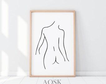 Female Art Nudity, Line Art Feminine Art Nudity, Above the Bed Decor, Erotic Art Nudity, Girl Fashion Poster, Erotic Nude Print, Minimalist